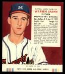 1955 Red Man #10 NL Warren Spahn  Front Thumbnail