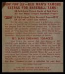 1953 Red Man #10 NL Pee Wee Reese  Back Thumbnail