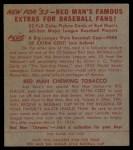 1953 Red Man #1 AL Casey Stengel  Back Thumbnail