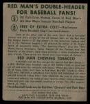 1952 Red Man #19 NL Red Schoendienst  Back Thumbnail