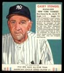 1952 Red Man #1 AL Casey Stengel  Front Thumbnail
