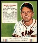 1953 Red Man #7 NL Whitey Lockman  Front Thumbnail