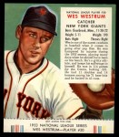 1953 Red Man #20 NL Wes Westrum  Front Thumbnail