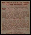 1953 Red Man #13 AL Gus Zernial  Back Thumbnail