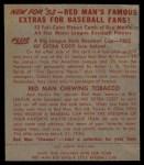 1953 Red Man #18 AL Johnny Mize  Back Thumbnail