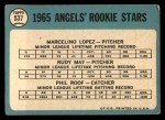 1965 Topps #537   -  Mercelino Lopez / Rudy May / Phil Roof Angels Rookies Back Thumbnail