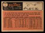1966 Topps #140  Jim Maloney  Back Thumbnail