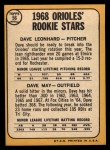1968 Topps #56   -  Dave Leonhard / Dave May Orioles Rookies Back Thumbnail