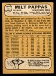 1968 Topps #74  Milt Pappas  Back Thumbnail