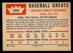 1960 Fleer #24  Mickey Cochrane  Back Thumbnail