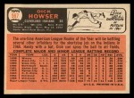 1966 Topps #567  Dick Howser  Back Thumbnail