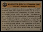 1960 Topps #470   -  Bob Swift / Ellis Clary / Sam Mele Senators Coaches Back Thumbnail