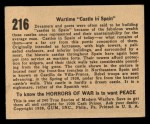 1938 Gum Inc. Horrors of War #216   Wartime Castle in Spain Back Thumbnail