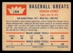 1960 Fleer #54  Lefty Gomez  Back Thumbnail