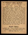 1940 Play Ball #14  Rabbit McNair  Back Thumbnail