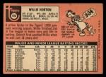 1969 Topps #180  Willie Horton  Back Thumbnail