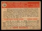 1952 Topps #158 CRM Eddie Waitkus  Back Thumbnail
