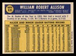 1970 Topps #635  Bob Allison  Back Thumbnail