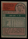1975 Topps Mini #416  Larry Lintz  Back Thumbnail