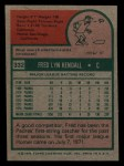 1975 Topps Mini #332  Fred Kendall  Back Thumbnail