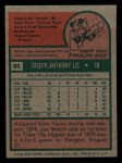 1975 Topps Mini #86  Joe Lis  Back Thumbnail