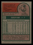 1975 Topps Mini #321  Rudy May  Back Thumbnail