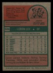 1975 Topps Mini #506  Leron Lee  Back Thumbnail