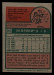 1975 Topps Mini #382  Don Baylor  Back Thumbnail