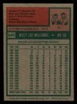 1975 Topps Mini #545  Billy Williams  Back Thumbnail