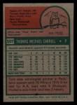 1975 Topps Mini #507  Tom Carroll  Back Thumbnail