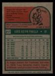 1975 Topps Mini #217  Lou Piniella  Back Thumbnail