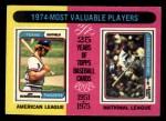 1975 Topps Mini #212   -  Jeff Burroughs / Steve Garvey 1974 MVPs Front Thumbnail