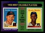 1975 Topps Mini #196   -  Jackie Jensen / Ernie Banks 1958 MVPs Front Thumbnail