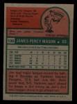 1975 Topps Mini #136  Jim Mason  Back Thumbnail