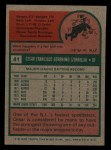 1975 Topps Mini #41  Cesar Geronimo  Back Thumbnail