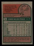 1975 Topps Mini #76  Ed Sprague  Back Thumbnail