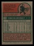 1975 Topps Mini #179  Tom Bradley  Back Thumbnail