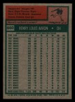 1975 Topps Mini #660  Hank Aaron  Back Thumbnail