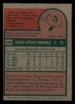 1975 Topps Mini #156  Dave Kingman  Back Thumbnail