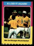 1975 Topps Mini #466   -  Rollie Fingers / Reggie Jackson / Dick Williams 1974 World Series - Summary - A's Do it Again Front Thumbnail