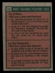 1975 Topps Mini #191   -  Al Rosen / Roy Campanella 1953 MVPs Back Thumbnail