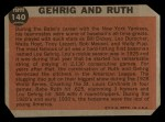1962 Topps #140 GRN Babe Ruth / Lou Gehrig  Back Thumbnail