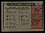 1975 Topps Mini #236   -  Dick Williams Angels Team Checklist Back Thumbnail