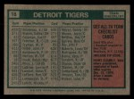1975 Topps Mini #18   -  Ralph Houk Tigers Team Checklist Back Thumbnail