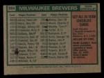 1975 Topps Mini #384   -  Del Crandall Brewers Team Checklist Back Thumbnail