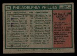 1975 Topps Mini #46   -  Danny Ozark Phillies Team Checklist Back Thumbnail