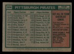1975 Topps Mini #304   -  Danny Murtaugh Pirates Team Checklist Back Thumbnail