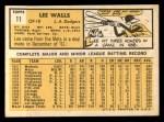 1963 Topps #11  Lee Walls  Back Thumbnail