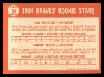 1964 Topps #94   -  Larry Maxie / Jim Britton Braves Rookies Back Thumbnail