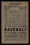 1952 Bowman #182  Dave Koslo  Back Thumbnail